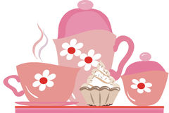 Tea party. Pink tea set on a tray with cake Stock Image