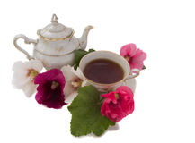 Tea party. Antique set with flowers, isolated over white Stock Photography