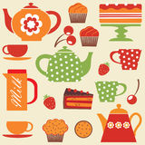 Tea party. A colorful illustration of tea party elements stock illustration