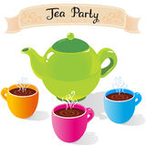 Tea party. Illustration of colorful tea set with cups of tea Royalty Free Stock Images