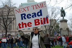 Tea Party. Indianapolis, IN - April 15: Protester at the state building downtown Indianapolis protesting higher taxes on tax day at a Tea Party event April 15 Stock Image