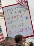 Tea party. A sign at the tea party event at Redlands CA April 15th 2009 Stock Photos