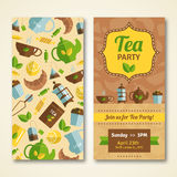 Tea party announcement 2 vertical banners Stock Image