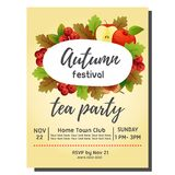 Tea party autumn invitation card with apple. Additional file in eps 10 vector illustration