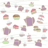 Tea party background style cup ,bakery and pot ,  illustration with colorful. Royalty Free Stock Image