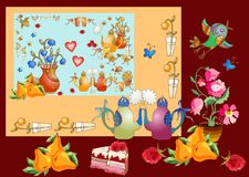 Tea party. Beautiful card with cute elements for teatime. Stock Photos