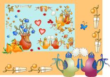 Tea party. Beautiful card for teatime. Royalty Free Stock Image