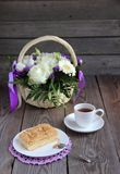 Tea Party. Beautiful fresh bouquet with roses, daisies royalty free stock images