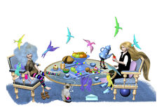 Tea party with birds. Two little girls drink tea and eat some cake, in the air around them fly many colorful birds, over a white background, 3D illustration Royalty Free Stock Image