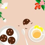 Tea Party on a brown background vector illustration