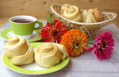 Tea party and buns Royalty Free Stock Image