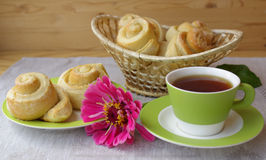 Tea party and buns Stock Image