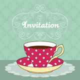 Tea party card. Hand drawn illustration of polka dot tea cup with coffee or tea and curly design elements. Greeting card or party invitation template stock illustration
