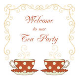 Tea party card. Hand drawn illustration of polka dot teacups and curly frame. Welcome to our tea party text message. Greeting card or party invitation template vector illustration