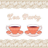 Tea party card Stock Image
