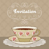Tea party card. Hand drawn illustration of vintage tea cup with coffee or tea and curly design elements. Greeting card or party invitation template stock illustration