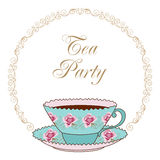 Tea party card. Hand drawn illustration of vintage tea cup with coffee or tea and curly round frame. Greeting card or party invitation template stock illustration