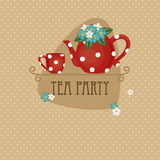 Tea party card. Tea party invitation and card design stock illustration
