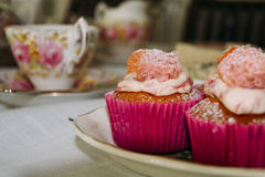Tea party cor-de-rosa Foto de Stock