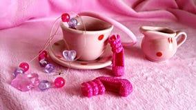 Tea party cor-de-rosa Imagem de Stock