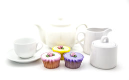Tea party with cup cakes Stock Photos