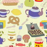 Tea Party with cup of tea and desserts, fruits Stock Photos