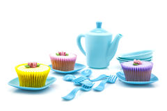 Tea party with cupcakes Stock Photos