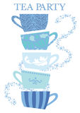 Tea Party Cups. Vector graphic of blue tea cups stacked and ready for a Tea Party stock illustration