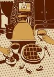 Tea party do desenho do vetor com gato e torta Fotografia de Stock