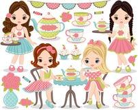 Tea party do vetor ajustado com as meninas bonitos que comem o chá ilustração do vetor