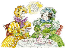 Tea party of elderly ladies royalty free illustration