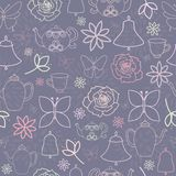 Tea Party för purpurfärgad vårträdgård sömlös modell vektor illustrationer