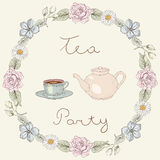 Tea party floral frame Royalty Free Stock Photos