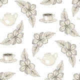 Tea party floral seamless pattern Royalty Free Stock Photo