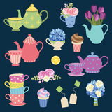 Tea Party And Flower Set. Vector illustration of tea party graphic elements with matching teapot and teacup and flower set Stock Images