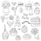 Tea party, hand drawn elements for design royalty free illustration