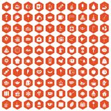 100 tea party icons hexagon orange. 100 tea party icons set in orange hexagon isolated vector illustration Royalty Free Stock Photo