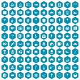 100 tea party icons sapphirine violet. 100 tea party icons set in sapphirine hexagon isolated vector illustration royalty free illustration