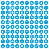 100 tea party icons set blue. 100 tea party icons set in blue hexagon isolated vector illustration stock illustration