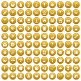 100 tea party icons set gold. 100 tea party icons set in gold circle isolated on white vectr illustration royalty free illustration