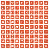 100 tea party icons set grunge orange. 100 tea party icons set in grunge style orange color isolated on white background vector illustration Stock Images