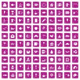 100 tea party icons set grunge pink. 100 tea party icons set in grunge style pink color isolated on white background vector illustration Stock Image
