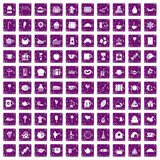 100 tea party icons set grunge purple Stock Image
