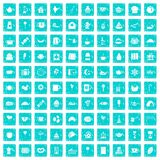 100 tea party icons set grunge blue. 100 tea party icons set in grunge style blue color isolated on white background vector illustration Stock Image