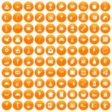 100 tea party icons set orange. 100 tea party icons set in orange circle isolated vector illustration royalty free illustration