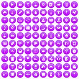 100 tea party icons set purple. 100 tea party icons set in purple circle isolated vector illustration royalty free illustration