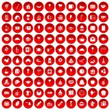 100 tea party icons set red. 100 tea party icons set in red circle isolated on white vectr illustration Stock Images