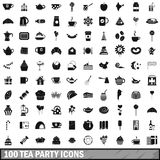 100 tea party icons set, simple style Stock Images