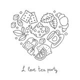 Tea Party. Icons in the shape of a heart Royalty Free Stock Photo