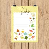 Tea party invitation or banner in doodle style vector illustration